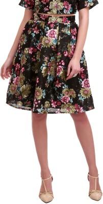 Sassafras Floral Print Women's Pleated Black Skirt at flipkart