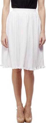 Peptrends Solid Women's Regular White Skirt