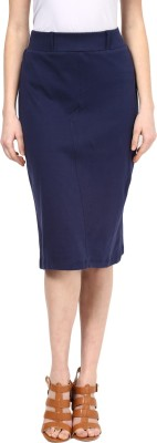 109F Solid Women,s A-line Dark Blue Skirt