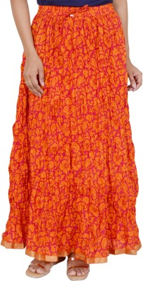 Rangreja Floral Print Women's A-line Orange Skirt