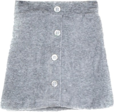 Lil Orchids Solid Girls Straight Grey Skirt