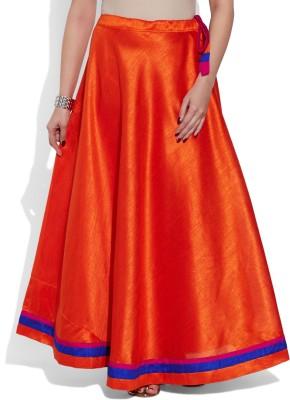 Very Me Solid Women's A-line Orange Skirt