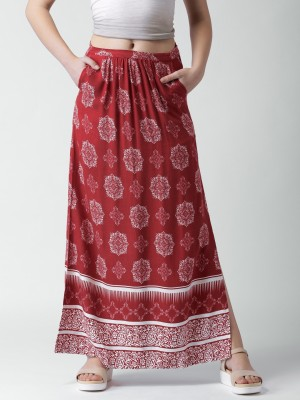 Mast & Harbour Printed Women's A-line Red Skirt