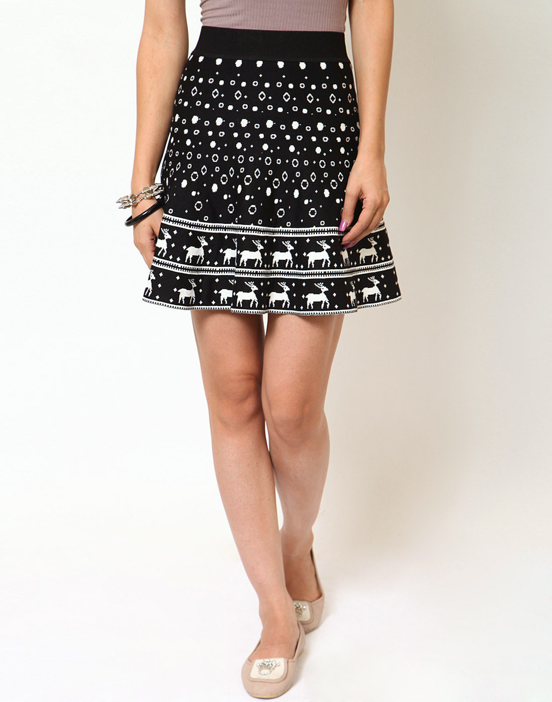 Sportelle USA India Printed Womens A-line Black, White Skirt