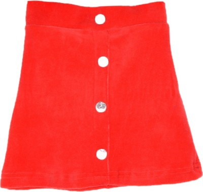 Lil Orchids Solid Girl's Straight Red Skirt