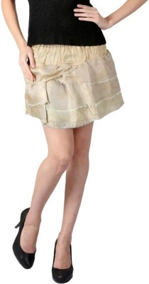 Textures Fashion Solid Women's Tiered Gold Skirt