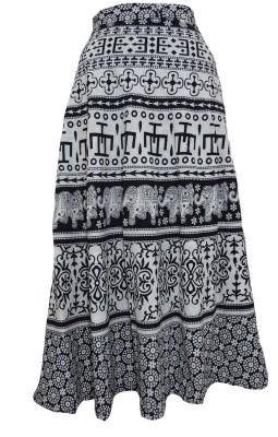 Marwari Fashion Printed Women's Wrap Around Black Skirt