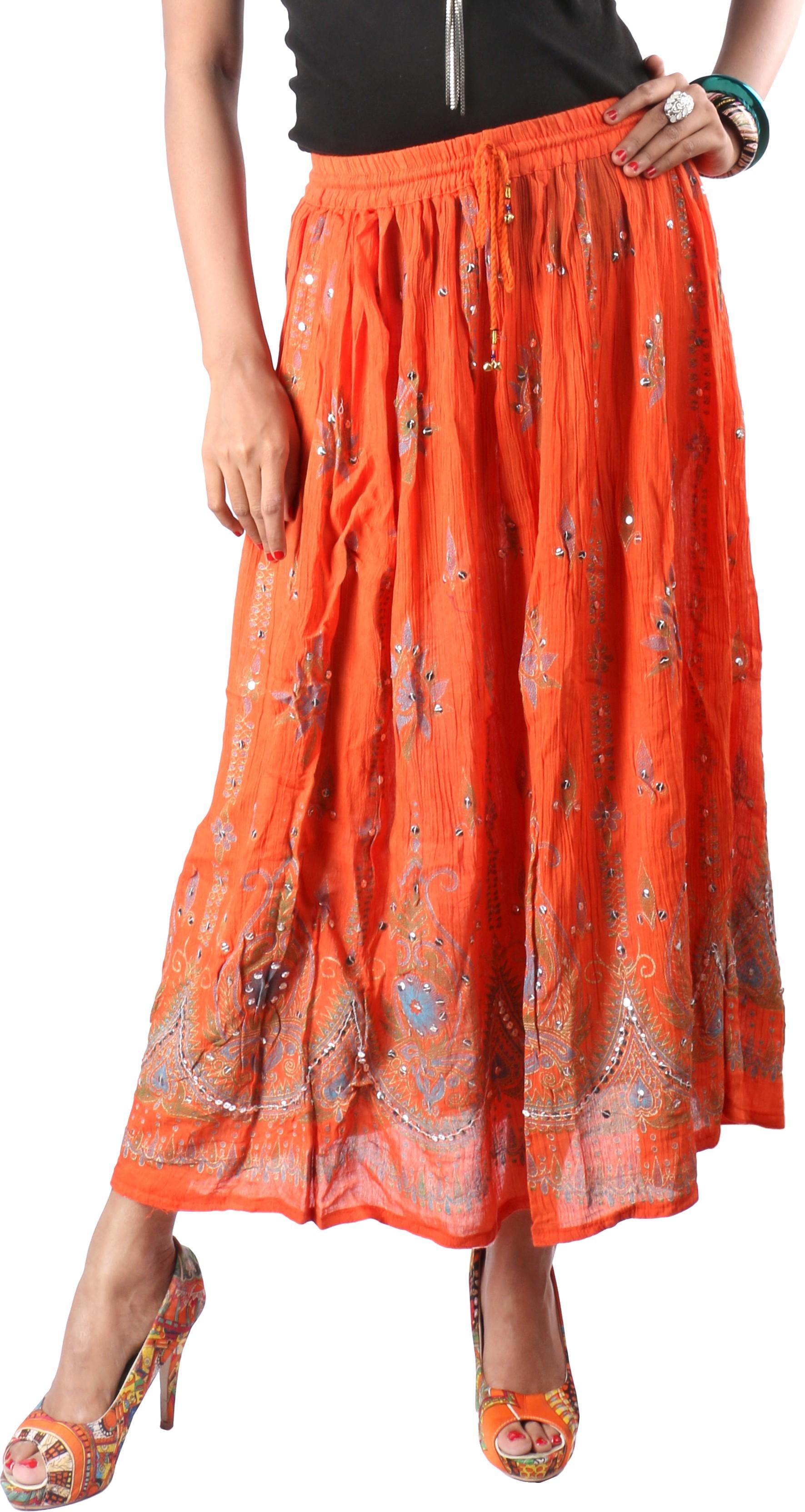Indiankala4u Printed Womens Broomstick Orange Skirt