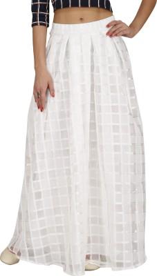 Svt Ada Collections Checkered Women,s Regular White Skirt