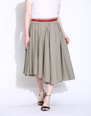 Sugar Her Solid Women's Asymetric Dark Green Skirt