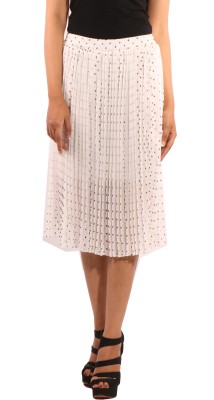Showoff Printed Women's Pleated White Skirt