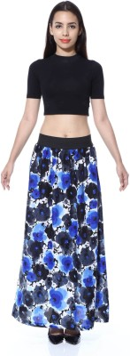 GraceDiva Floral Print Women's A-line Blue, Black Skirt