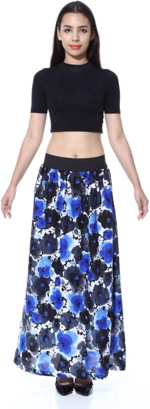 FabnFab Floral Print Women's A-line Blue, Black Skirt