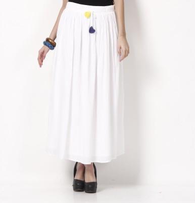 ShopperTree Solid Women's Straight White Skirt