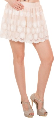 Showoff Embroidered Women's A-line Beige Skirt
