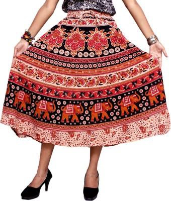 Krishna Mart Animal Print Women's Regular Brown Skirt