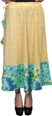 Chidiyadesigns Printed Women's A-line Yellow, Green Skirt