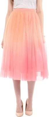 Roving Mode Solid Women's Gathered Pink Skirt