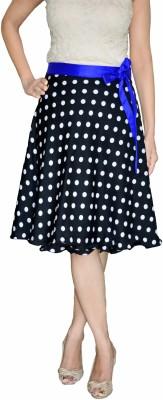 DeeVineeTi Polka Print Women's Wrap Around Black Skirt
