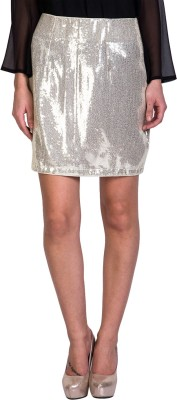 Sugar Her Solid Women's Pencil Silver Skirt