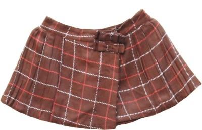 My Little Lambs Checkered Girl's Wrap Around Brown Skirt