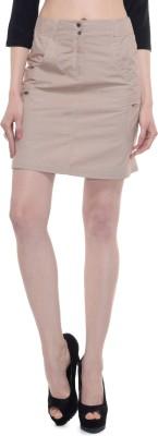 A Luv Ya Solid Women's Straight Beige Skirt