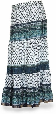 Jaipur Raga Floral Print Women,s Regular Blue Skirt