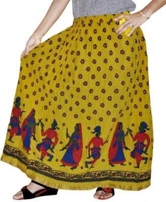 Marwari Fashion Printed Women's Wrap Around Yellow Skirt