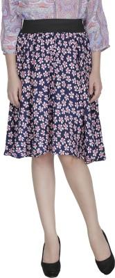 Shopping Villa Floral Print Women's A-line Blue Skirt