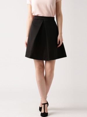 Dressberry Solid Women's A-line Black Skirt