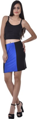 Colors Couture Solid Women's Straight Black Skirt