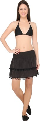 The Beach Company Solid Women,s Layered Black Skirt