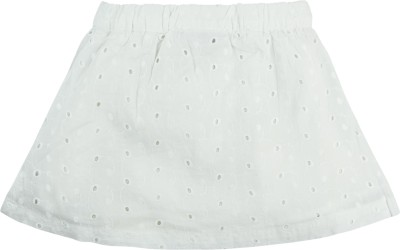 Mom & Me Self Design Baby Girl,s Regular White Skirt