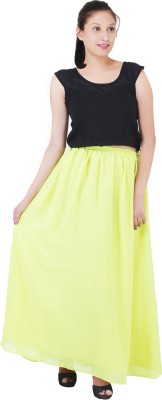 Annies Fab Solid Women's Gathered Green Skirt