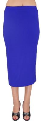 SHYIE Solid Women,s Pencil Blue Skirt
