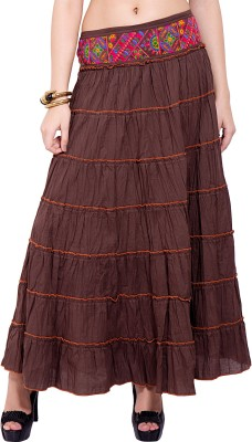Tuntuk Solid Women's A-line Brown Skirt