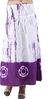 Indi Bargain Self Design Women's A-line Purple, White Skirt