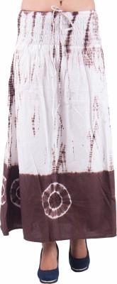 Indi Bargain Self Design Women's A-line Brown, White Skirt