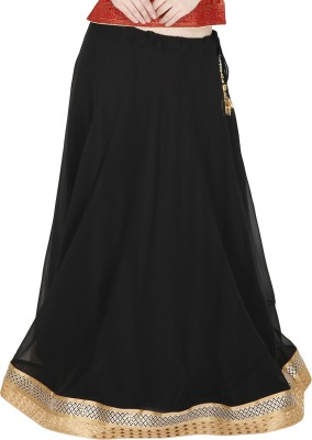 Sanchi Global Solid, Embellished Women's Regular Black, Gold Skirt