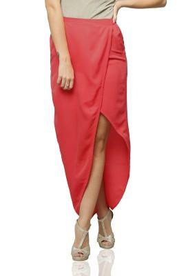 Miss Chase Solid Women's Orange Skirt