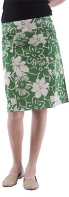 Aarr Floral Print Women's Straight Green Skirt