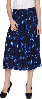 Tokyo Talkies Printed Women's Gathered Dark Blue Skirt