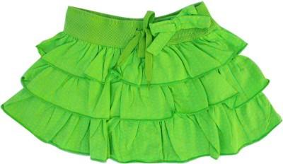 Garlynn Polka Print Girl's Layered Light Green Skirt