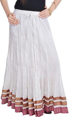 Prateek Exports Floral Print Women's Regular White Skirt