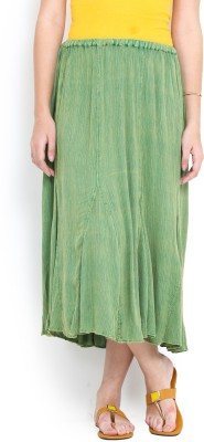 Trend Arrest Solid Women,s Gathered Green Skirt
