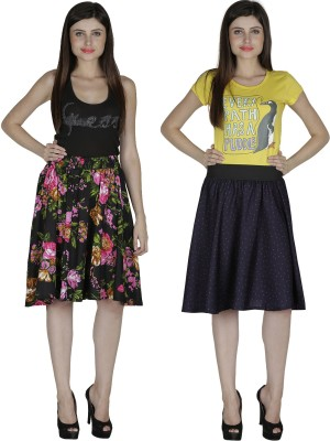 Shopingfever Printed Women's A-line Black, Dark Blue Skirt