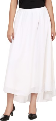 Tops and Tunics Solid Women's Asymetric White Skirt