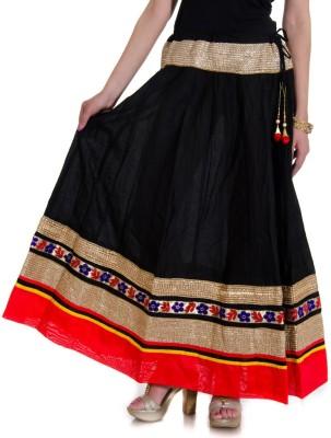 Ooltah Chashma Self Design Women's Broomstick Black, Red Skirt
