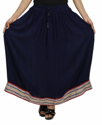 Indi Bargain Solid Women's A-line Blue Skirt
