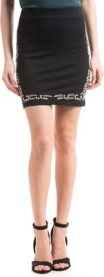 Shuffle Self Design Women's Pencil Black Skirt